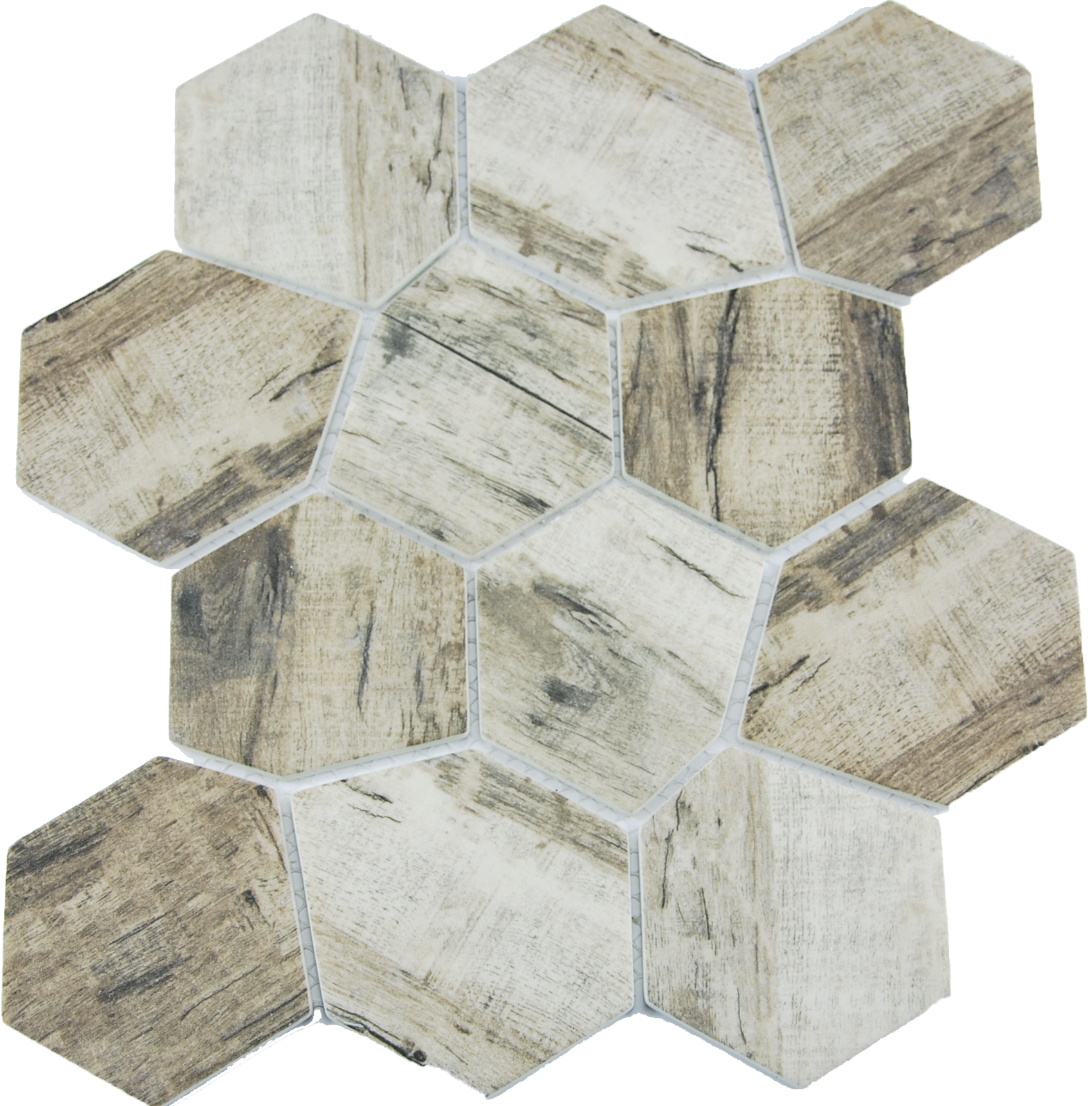 SELECT IRREGULAR HEXAGON TAUPE SATIN Image