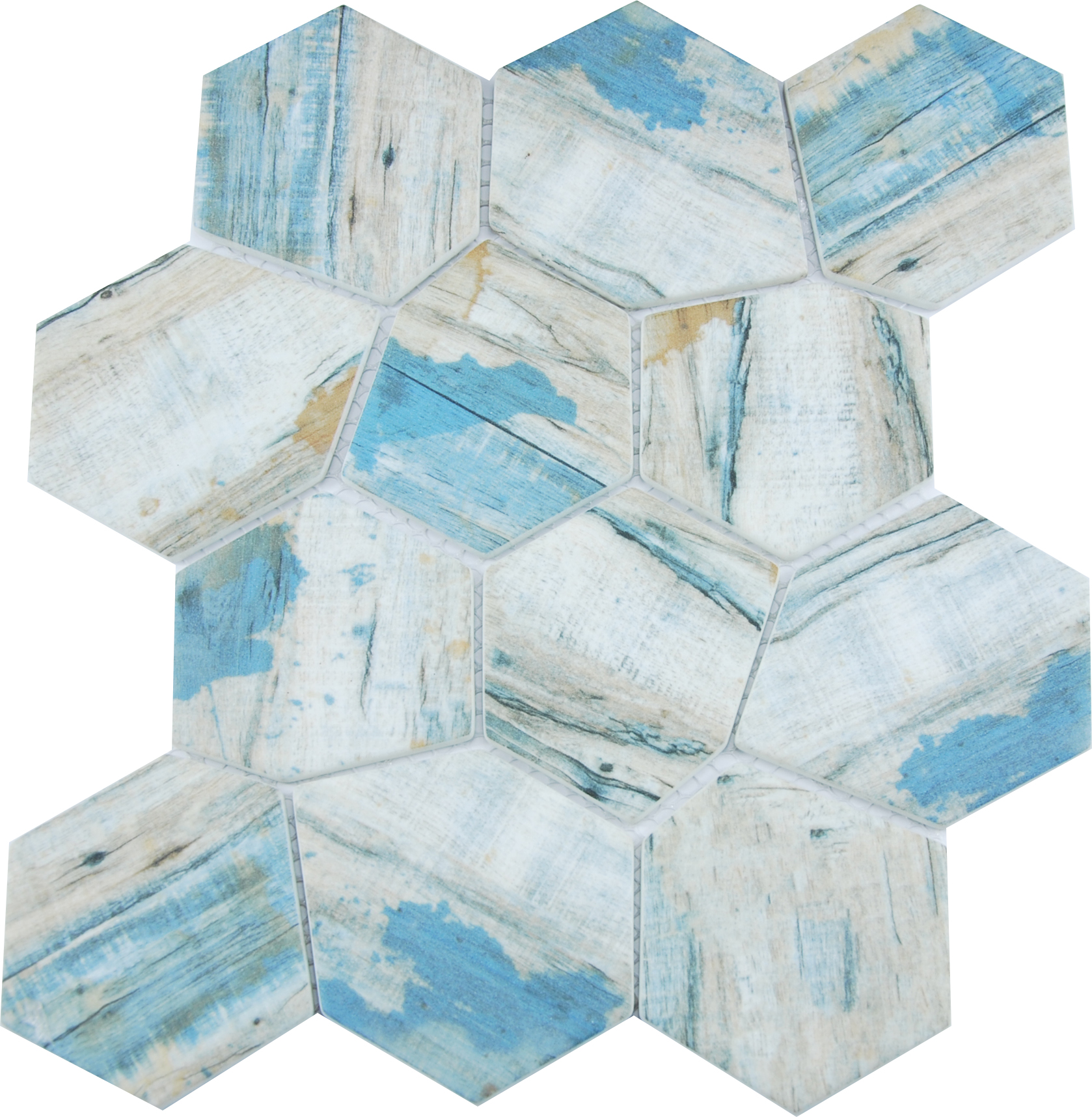 SELECT IRREGULAR HEXAGON BLUE SATIN Image