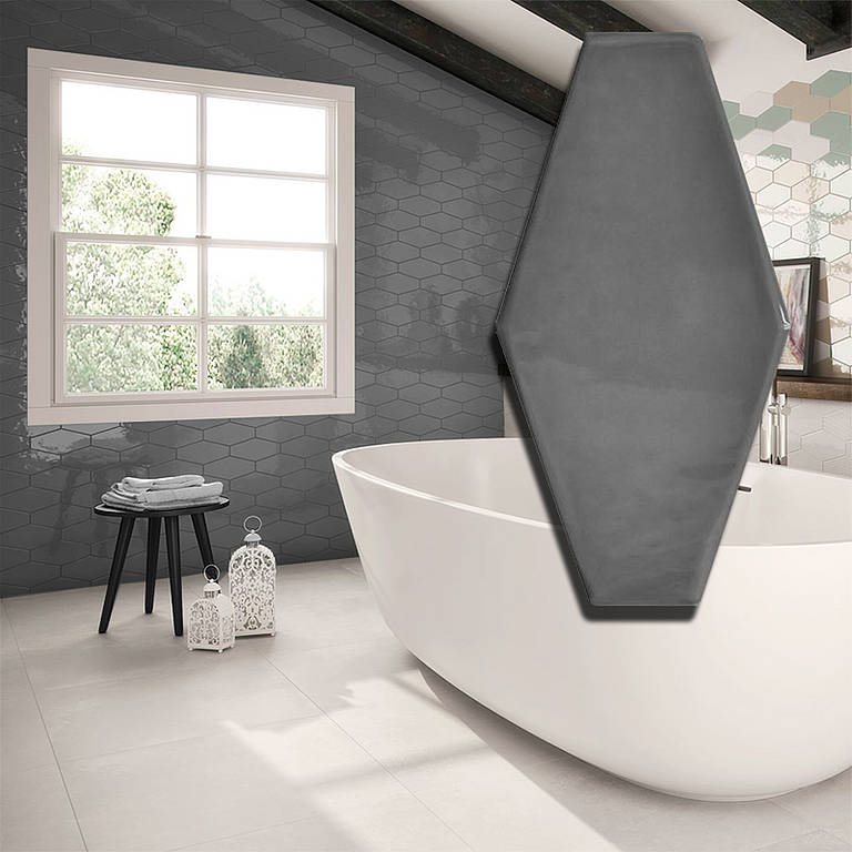VIENA GRAPHITE HEX WALL TILE Image